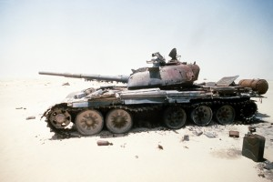 Bad press - a destroyed Iraqi T-72 export model.