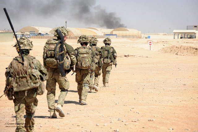 british patrol in Camp Bastion, Afghanistan.